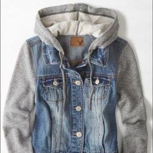 American Eagle Denim Sweatshirt Jacket